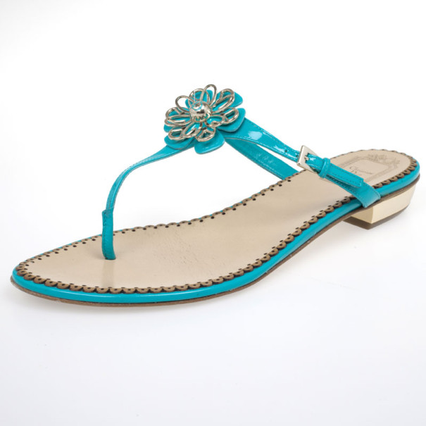 Christian Dior Turquoise Patent Leather Floral Detail Thong Sandals Size 39