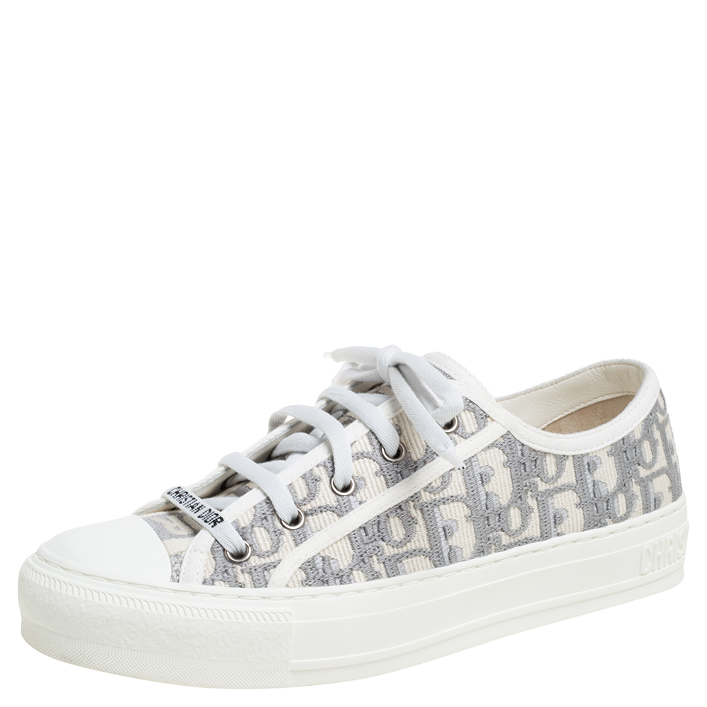 Dior Grey Embroidered Cotton Oblique Motif Walk'n'Dior Low Top Sneakers Size 38