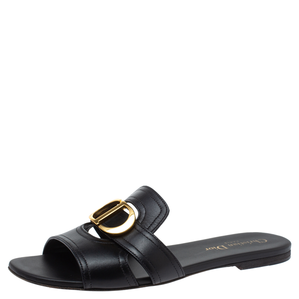 Pre-owned Dior Black Leather 30 Montaigne Flat Slide Sandals Size 38
