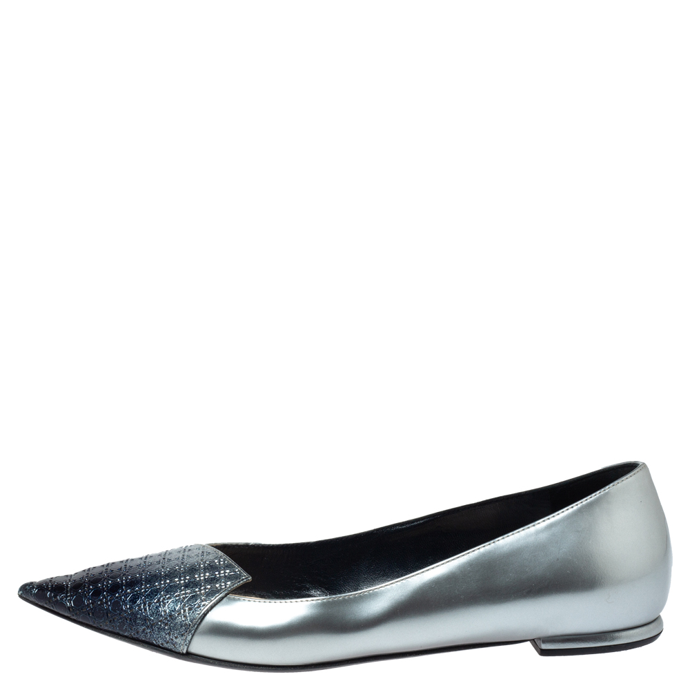 Dior Grey/Blue Ombre Patent Leather Spade Microcannage Toe Spade Ballet Flats Size 37