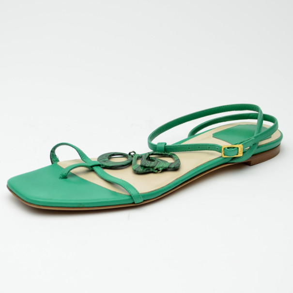 60807b53432 Buy Dior Green Leather Flat Sandals Size 38.5 35820 at best price