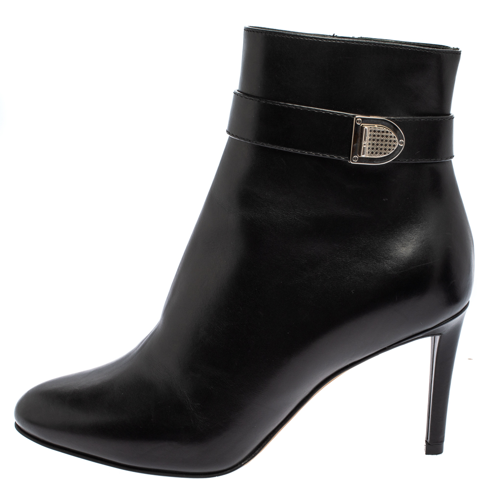 Dior Black Leather Zip Ankle Boots Size 37