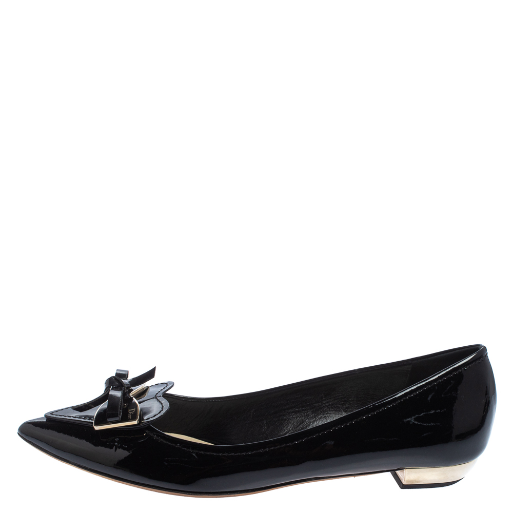 Dior Black Patent Leather Heart Bow Embellished Pointed Toe Ballet Flats Size 41