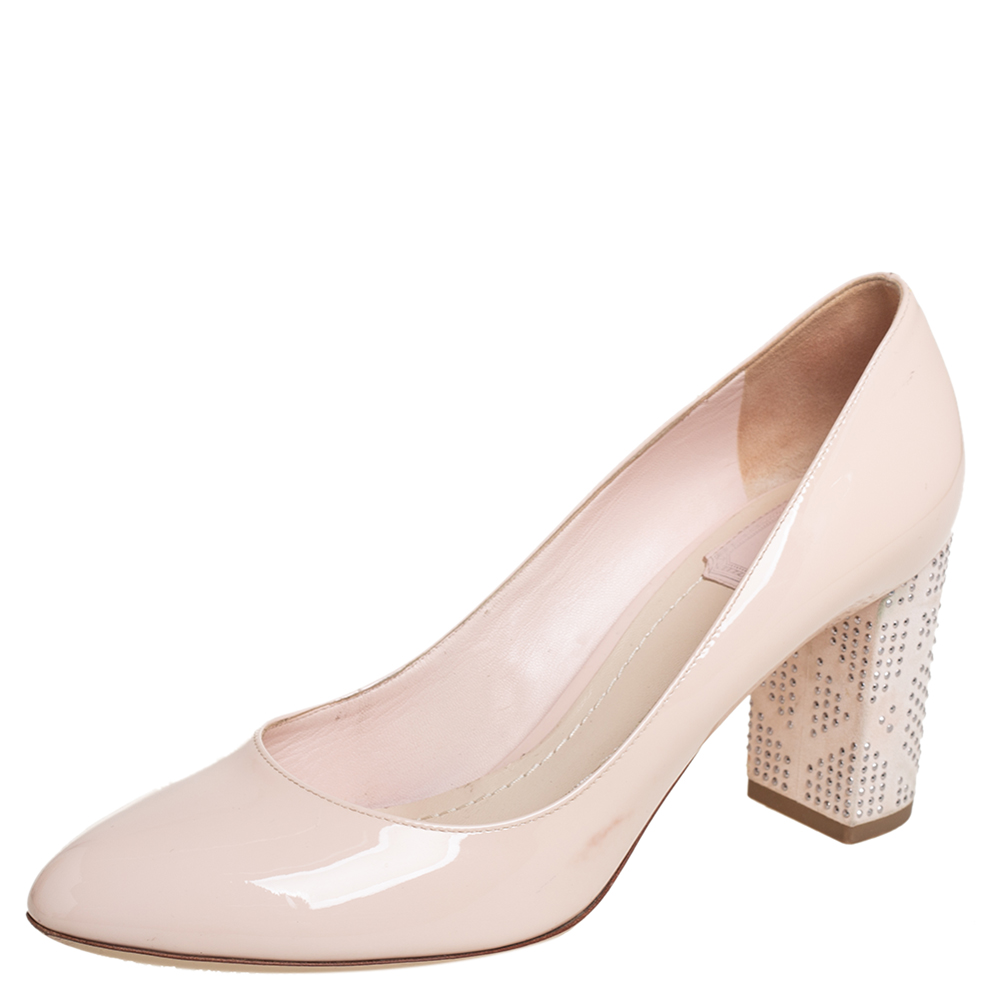 Dior Beige Patent Leather Embellished Block Heel Pumps Size 38.5