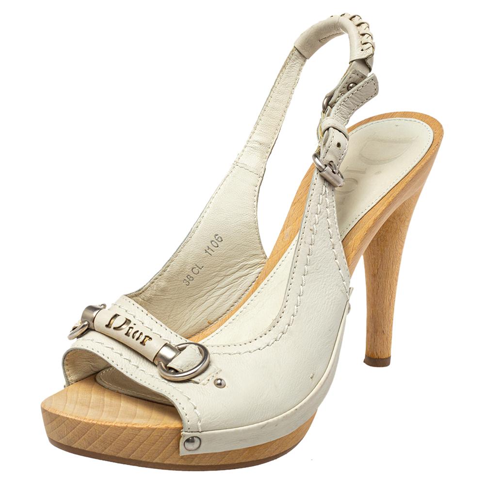Pre-owned Dior White Leather Platform Slingback Sandals Size 38