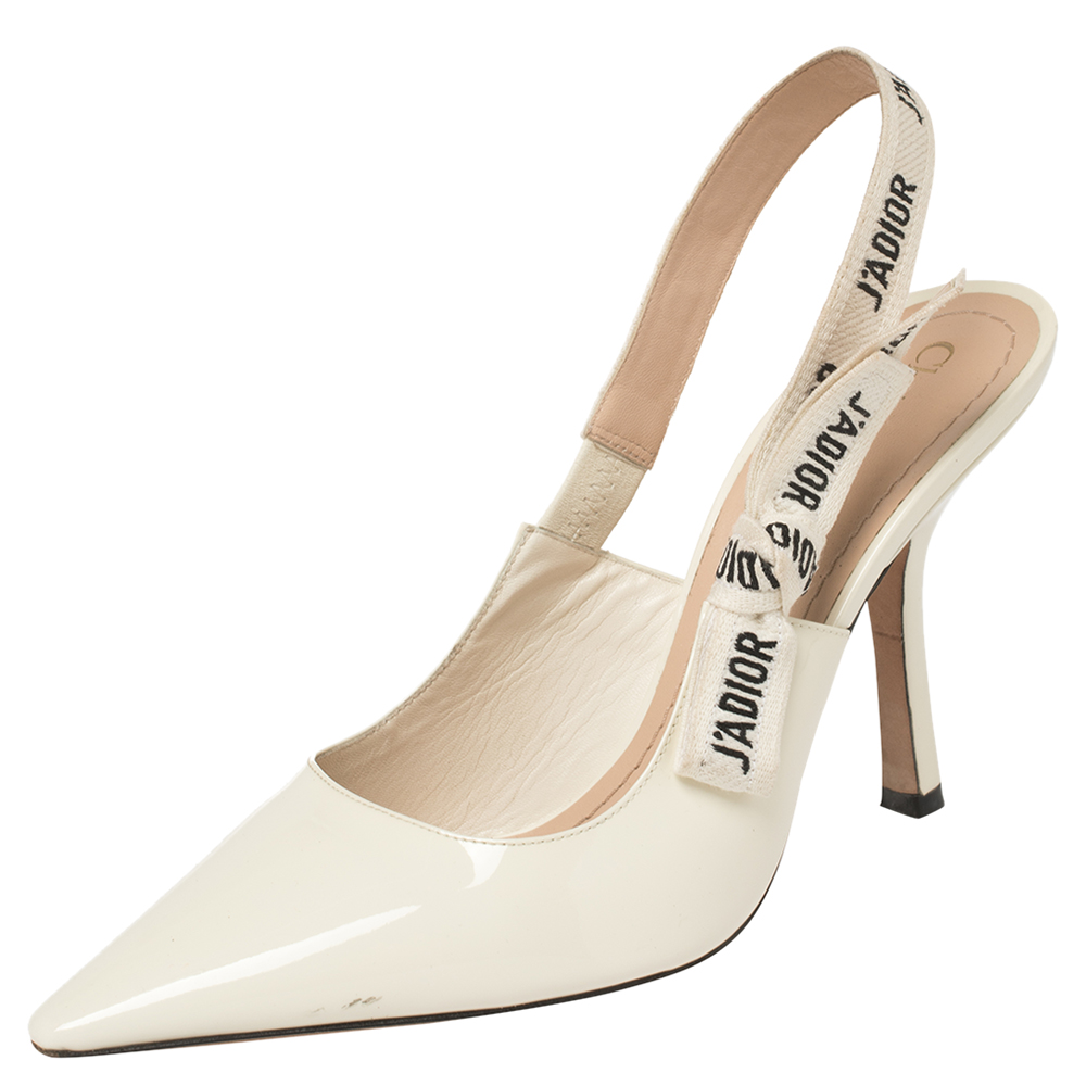 Pre-owned Dior Creem Patent Leather J'a Slingback Pumps Size 39.5 In Cream