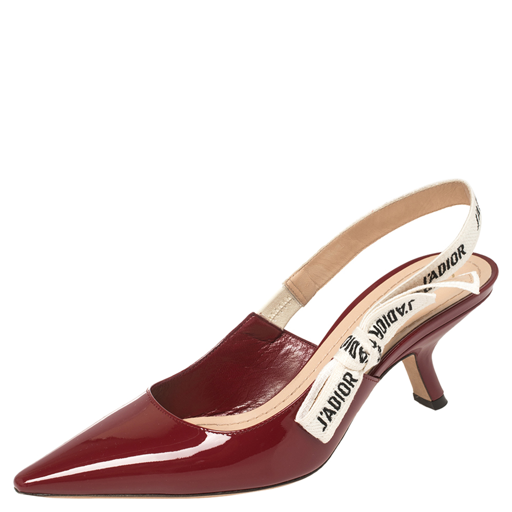 Pre-owned Dior Burgundy Patent Leather J'a Slingback Sandals Size 36