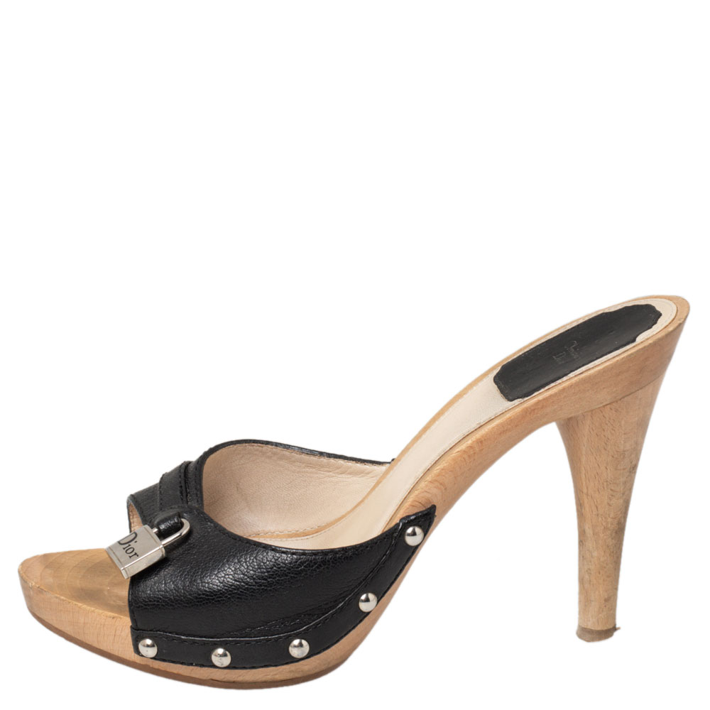 Dior Black Leather Wooden Clogs Size 36.5