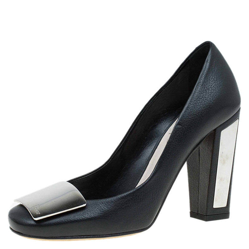 571bf3c3614 Buy Dior Black Leather Metal Plate Block Heel Pumps Size 36.5 79382 at best  price