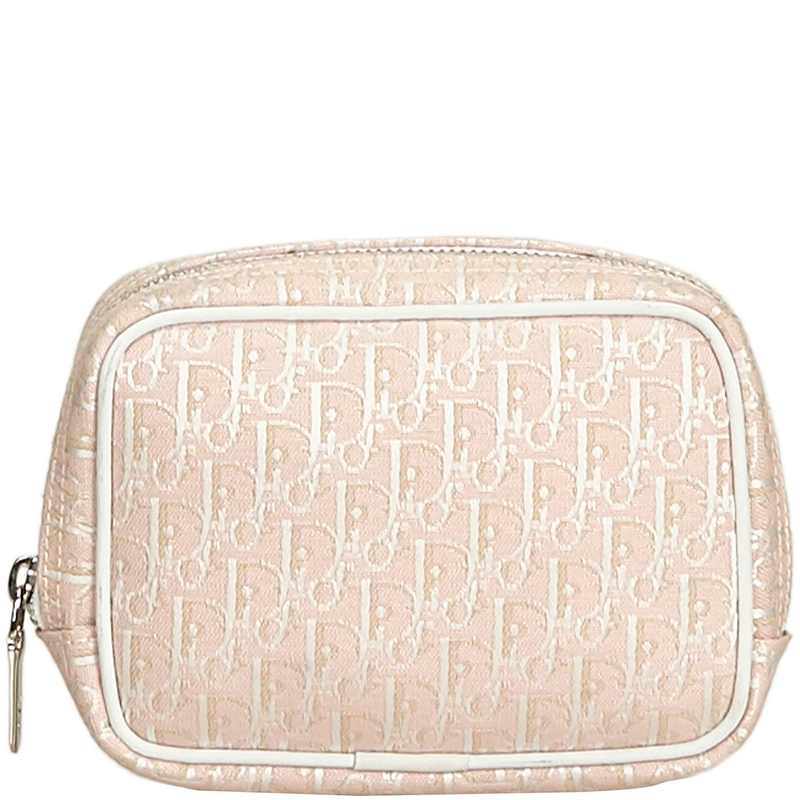 608e38762 Buy Christian Dior Pink/White Oblique Canvas Pouch 195601 at best ...