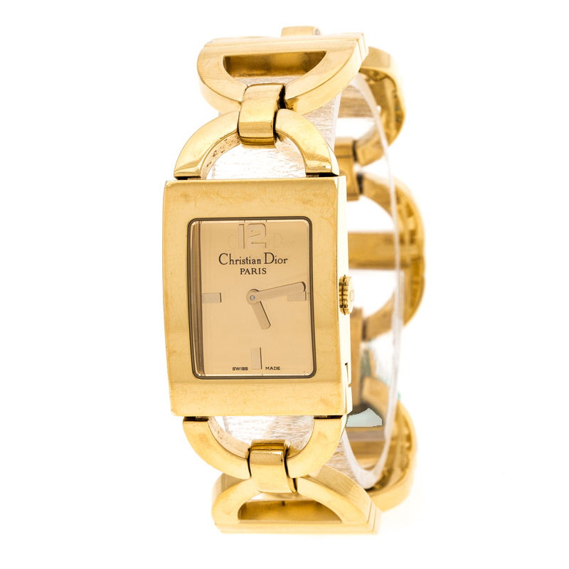 Dior Gold Plated Stainless Steel Malice D78-159 Women's Wristwatch 19 mm