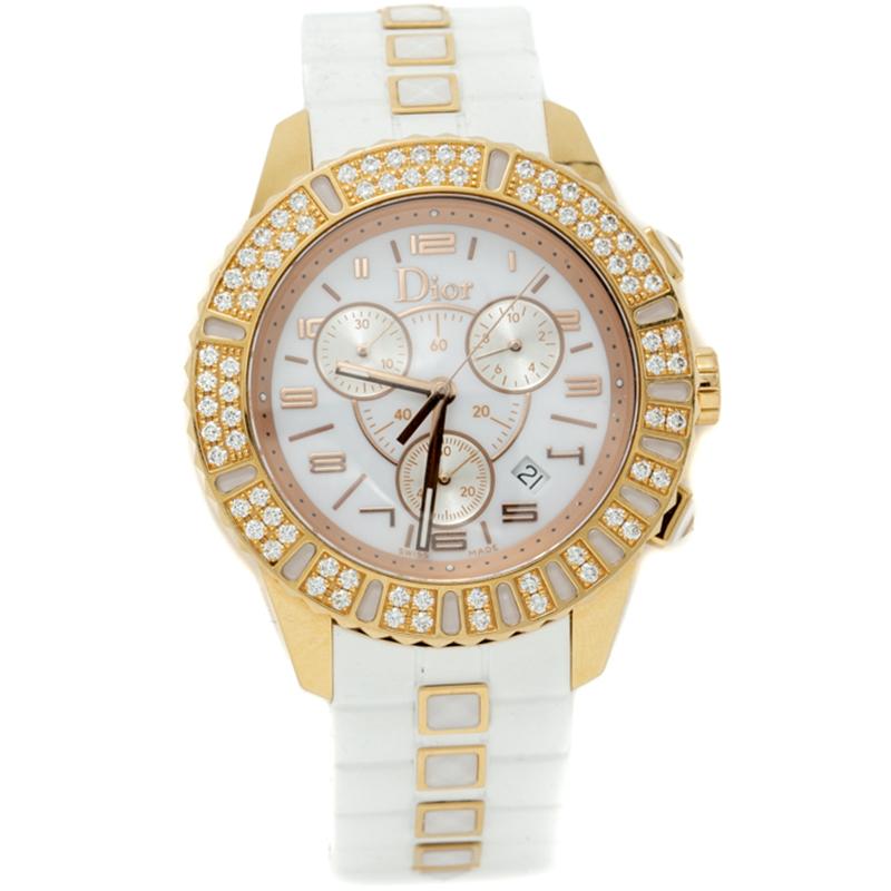 Buy Dior Crystal White 18k Rose Gold Diamond Chronograph Women S