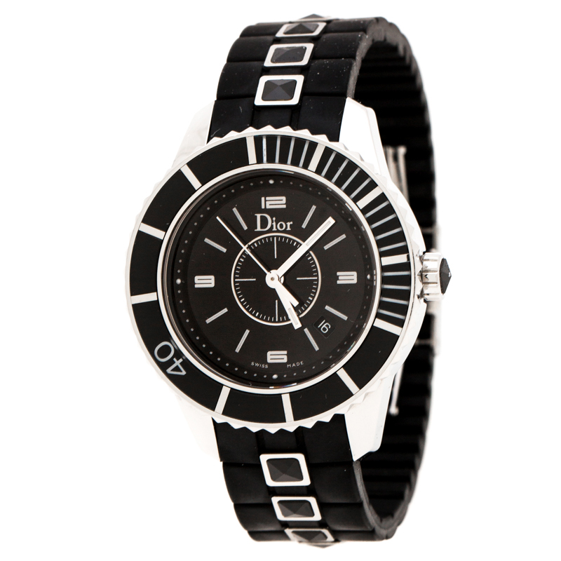 Dior Black Stainless Steel Christal CD11311FR001 Women's Wristwatch 33 mm