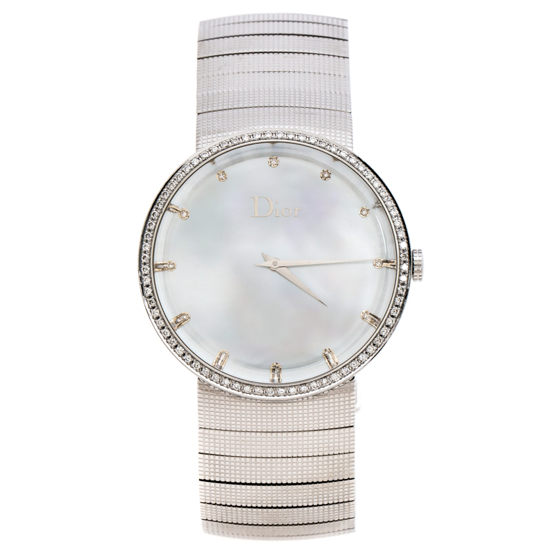 Dior Silver Stainless Steel Diamonds La D De Dior CD043111 Women's Wristwatch 38 mm
