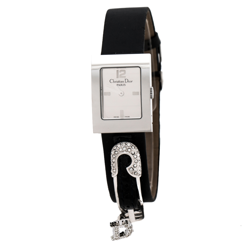 Christian Dior Silver Stainless Steel Safety Pin Malice D78-109 Women's Wristwatch 19 mm
