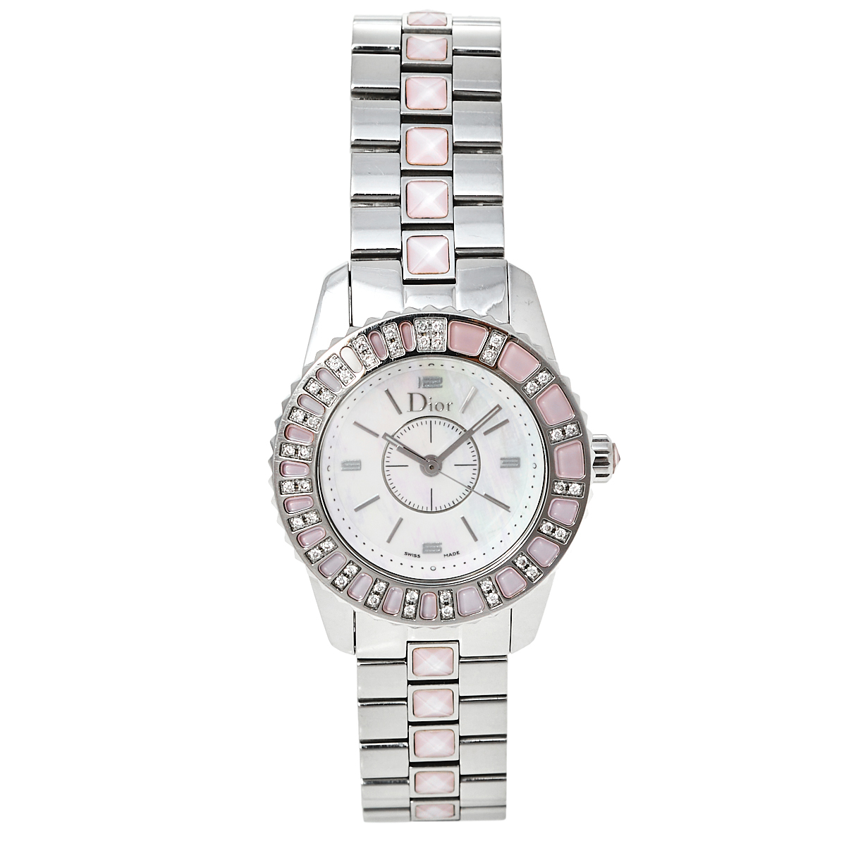 Pre-owned Dior Mother Of Pearl Stainless Steel Diamonds Christal Cd112111m001 Women's Wristwatch 28 Mm In White