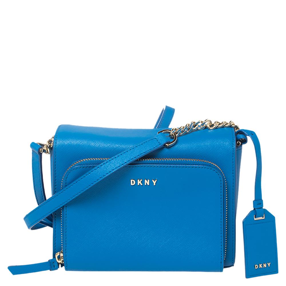 Pre-owned Dkny Blue Saffiano Leather Small Bryant Park Pocket Crossbody Bag