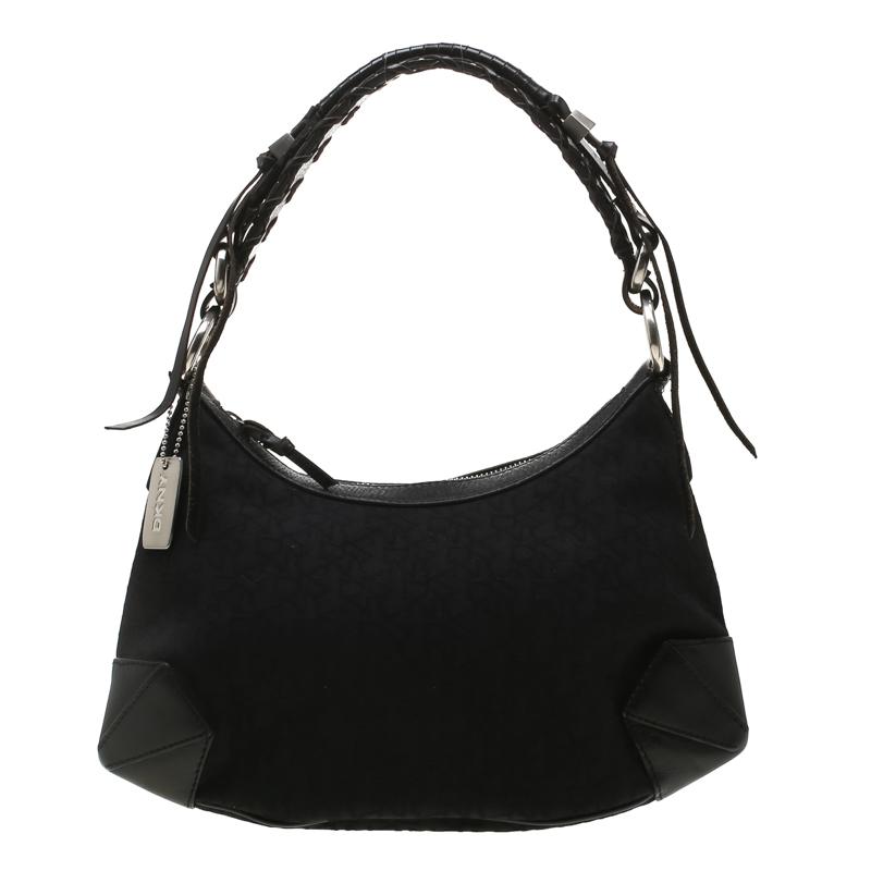 Dkny Black Signature Canvas And Leather Shoulder Bag