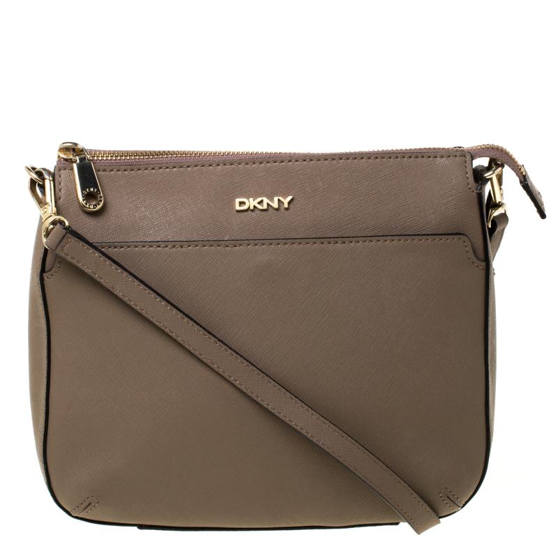 DKNY Dark Beige Leather Top Zip Crossbody Bag
