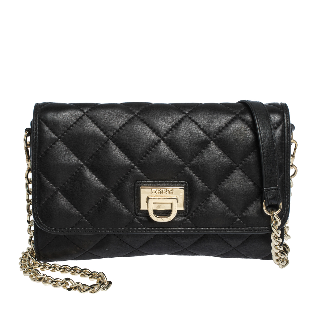 Dkny Black Quilted Leather Flap Chain
