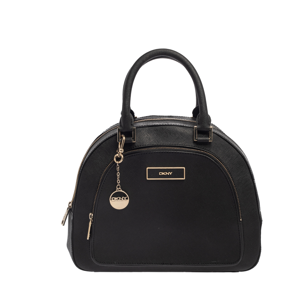 Pre-owned Dkny Black Leather Front Pocket Dome Satchel