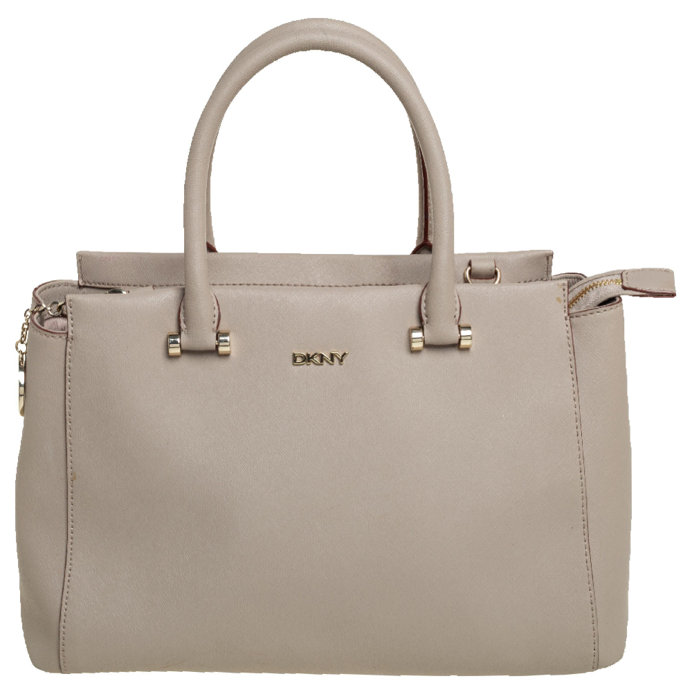 Pre-owned Dkny Beige Leather Bryant Park Tote