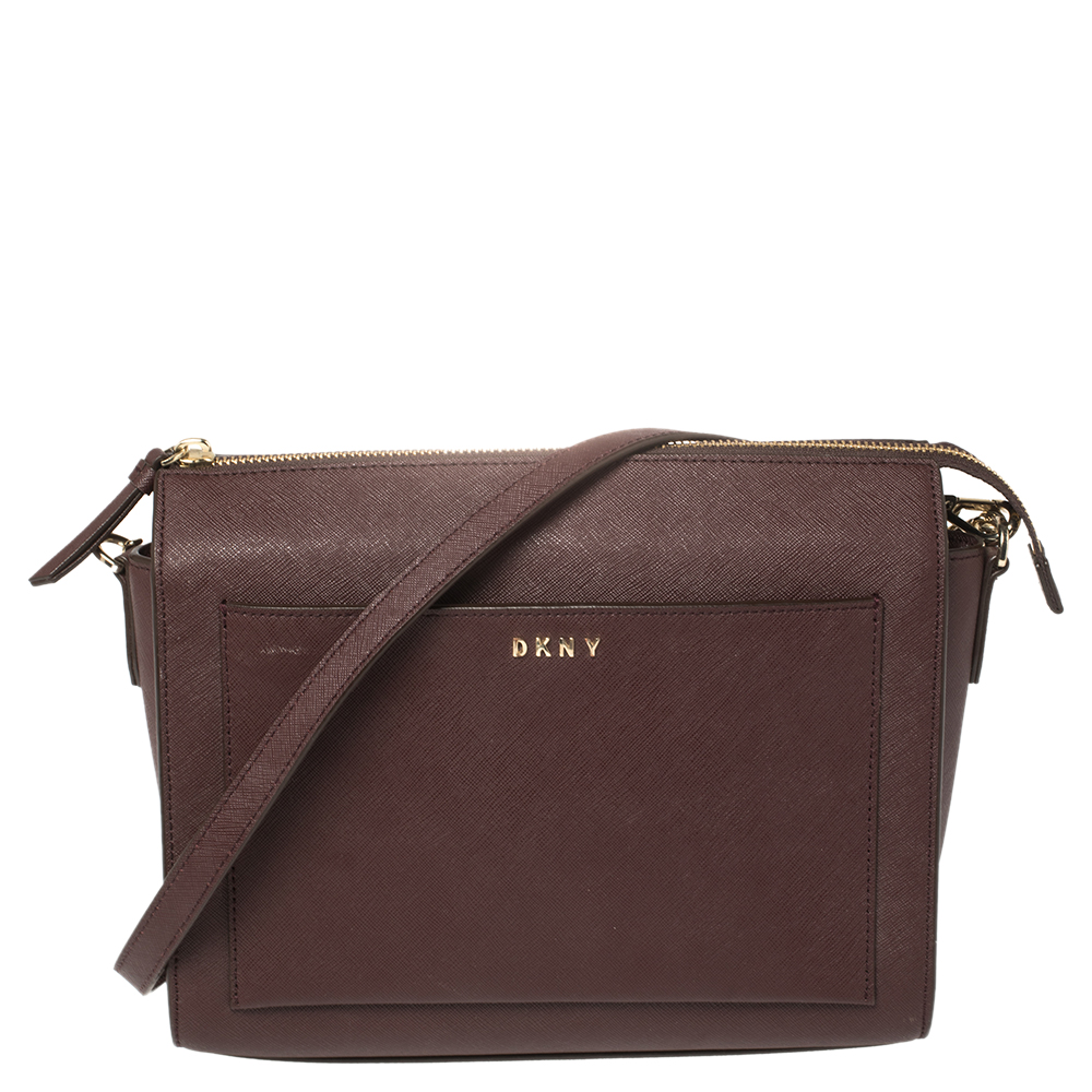 Pre-owned Dkny Burgundy Leather Ava Zip Crossbody Bag