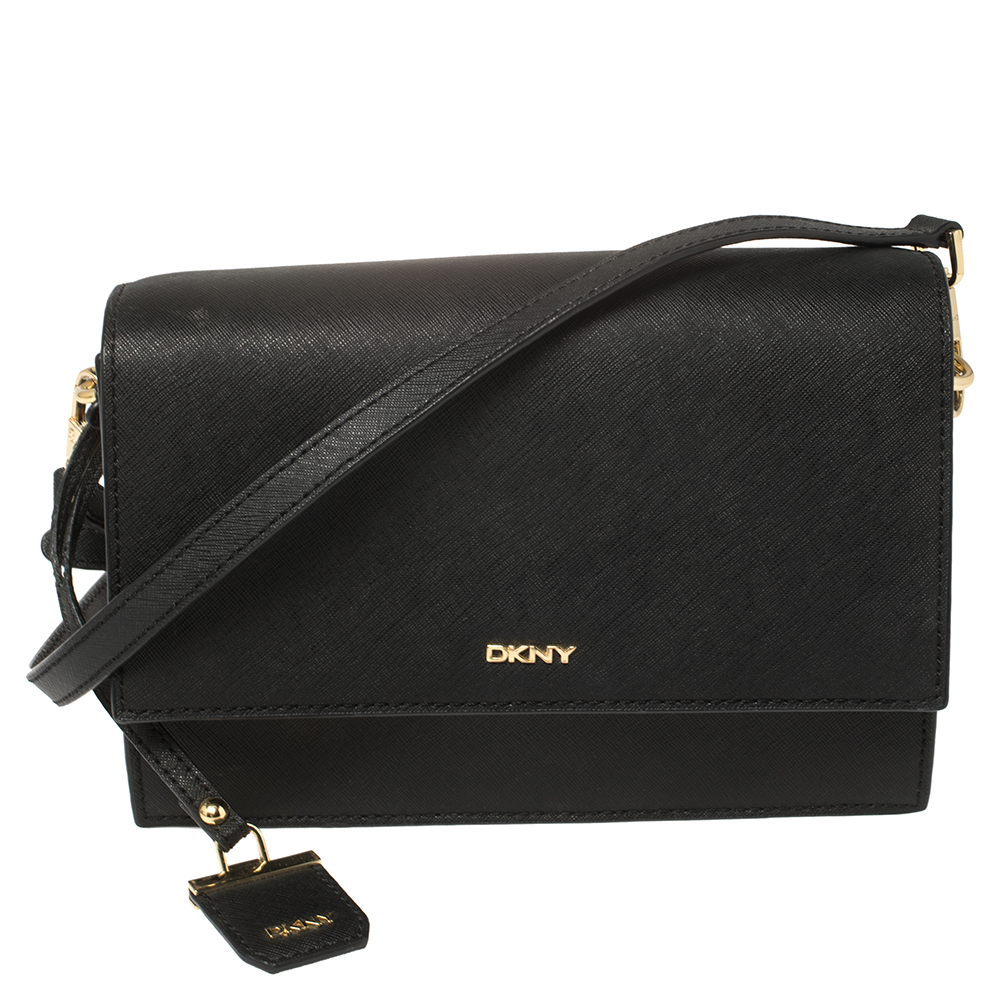 Pre-owned Dkny Black Saffiano Leather Bryant Park Flap Crossbody Bag