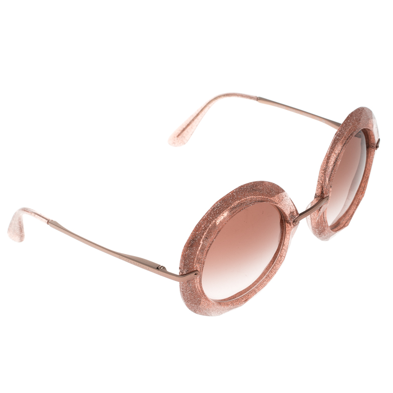 0663fb2d Buy Dolce and Gabbana Pink/ Brown Gradient DG 6105 Round Sunglasses ...