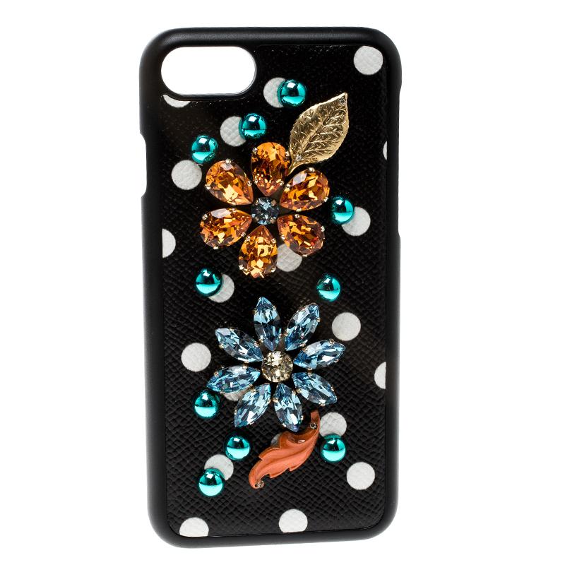 Купить со скидкой Dolce and Gabbana Black Flower Crystal Embellished Iphone 7 Case