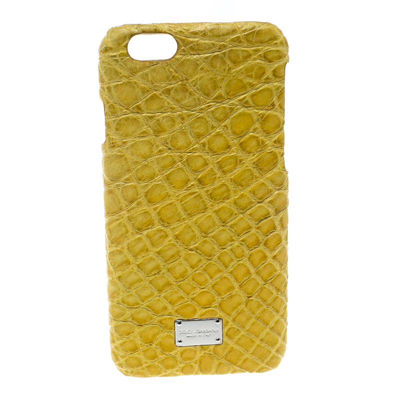 new style 7a0fc 80f6a Dolce & Gabbana Yellow Croc Embossed iPhone 6/6S Case