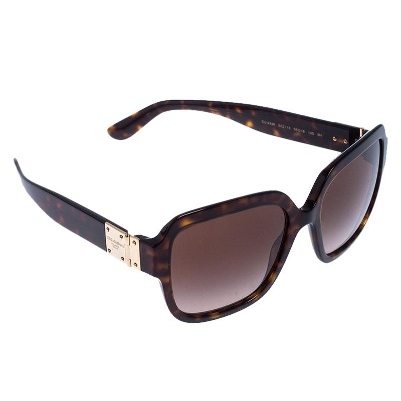 Dolce & Gabbana Dark Brown Tortoise DG 4336 Square Sunglasses