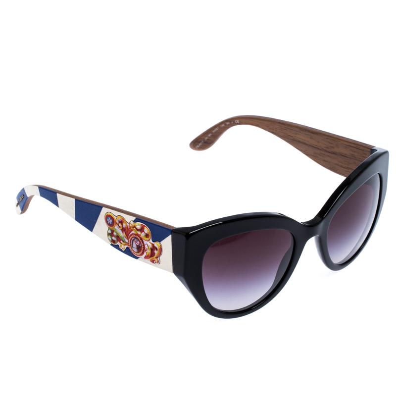 Dolce & Gabbana Black/Black Gradient DG4278 Sicilian Carreto Cateye Sunglasses