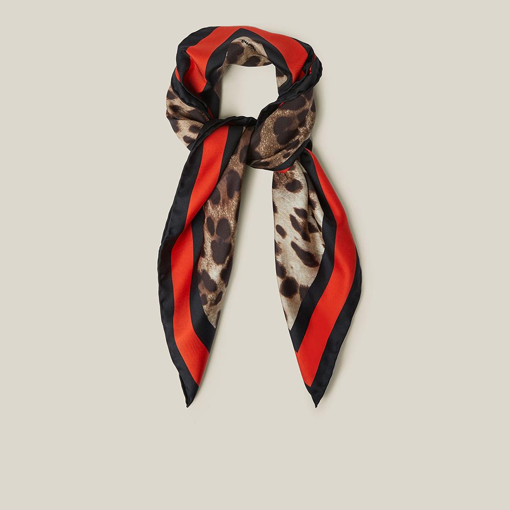 Dolce & Gabbana Animal Leopard Print Silk Scarf