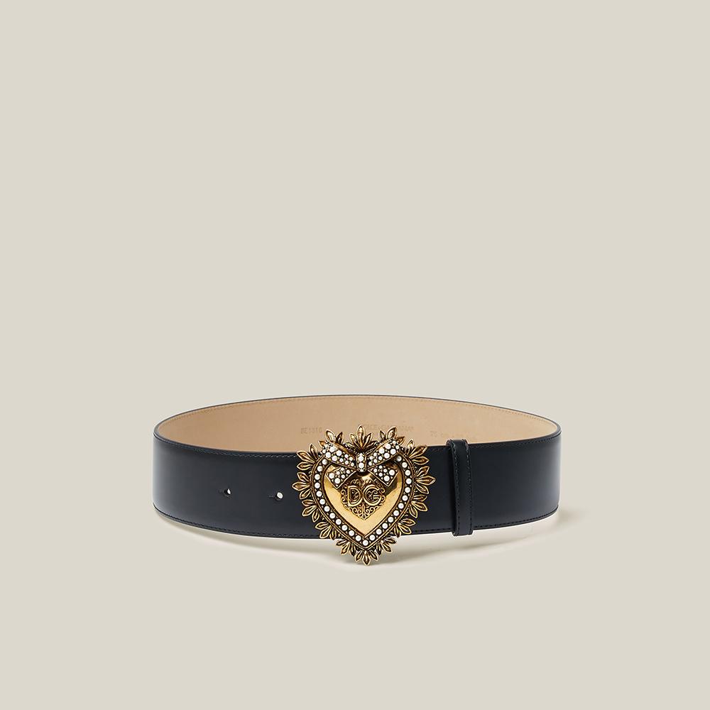 Dolce & Gabbana Black Devotion DG Embellished Leather Belt 75 CM