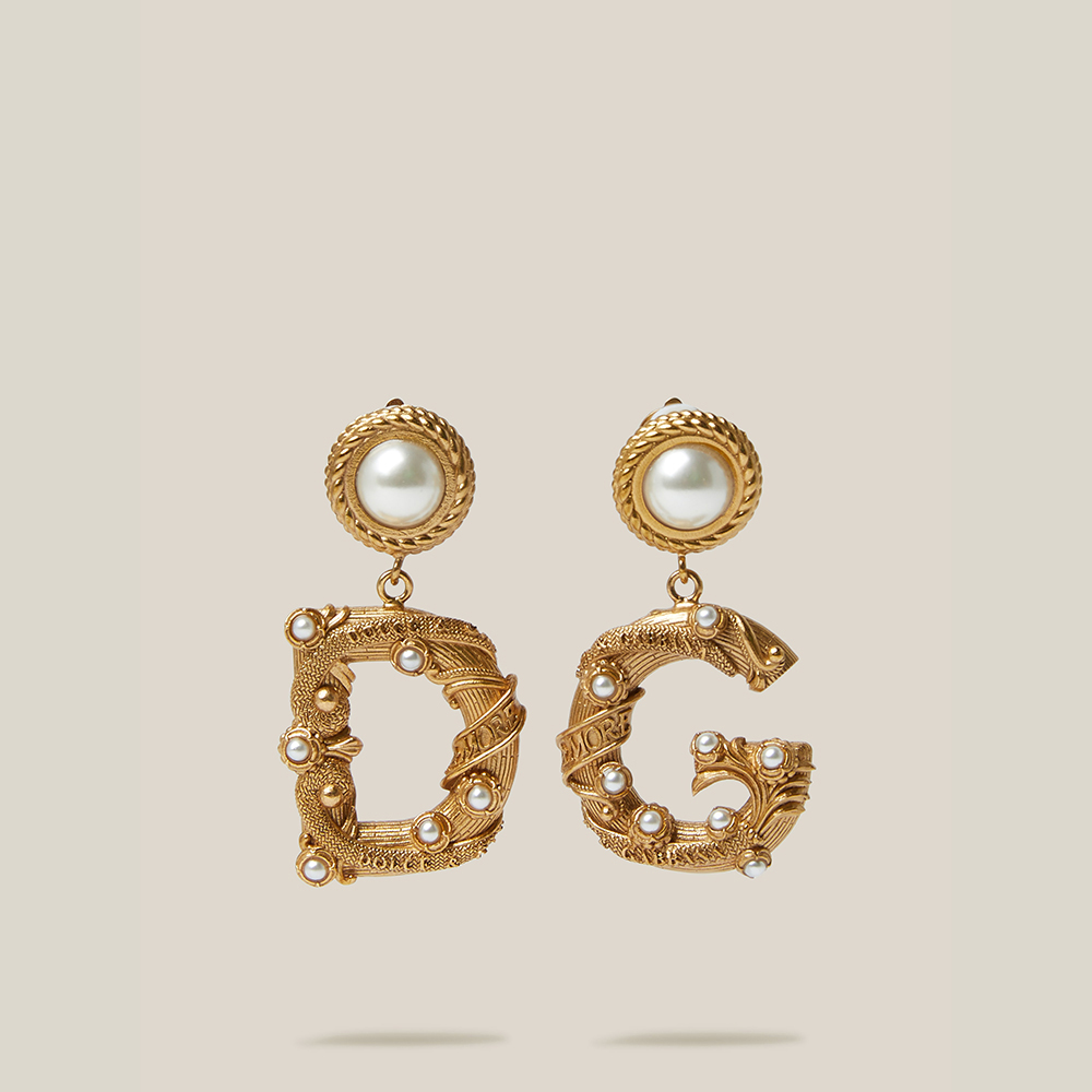 Dolce & Gabbana Gold Gold-Tone Faux Pearl Clip Earrings