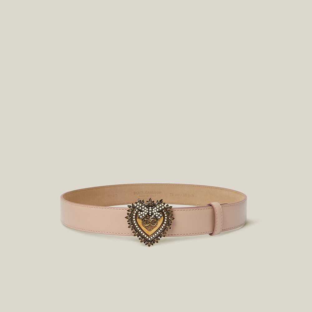 Dolce & Gabbana Pink Devotion Crystal-Embellished Slim Leather Belt 90 CM