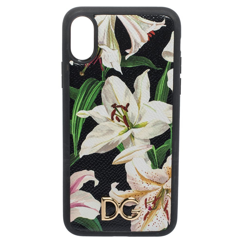 Dolce & Gabbana Black Lily Print Leather Logo Plaque iPhone X-XS Cover