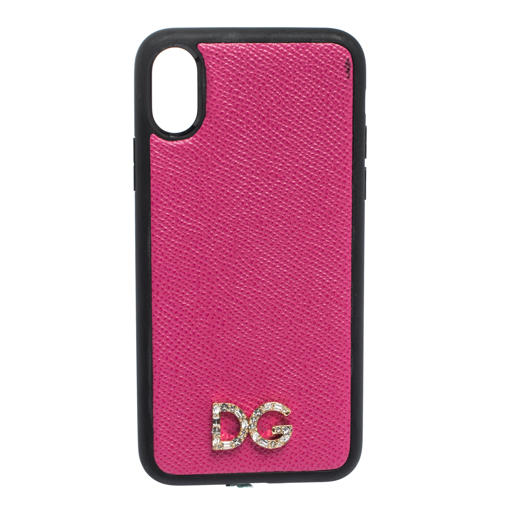 Dolce & Gabbana Pink Leather Logo Plaque iPhone X Cover