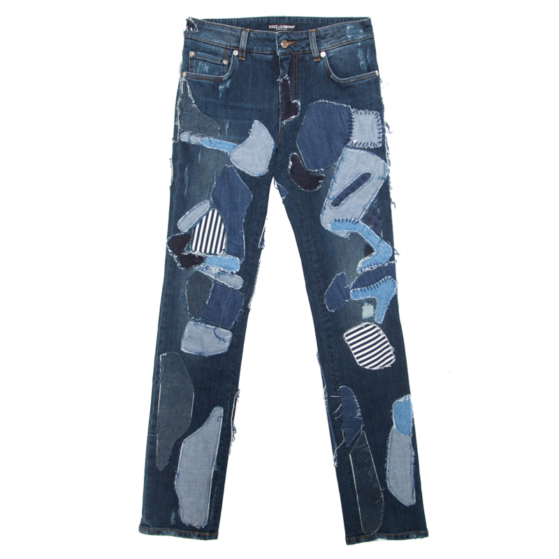 d479c487d4 Buy Dolce and Gabbana Indigo Faded Effect Patchwork Detail ...