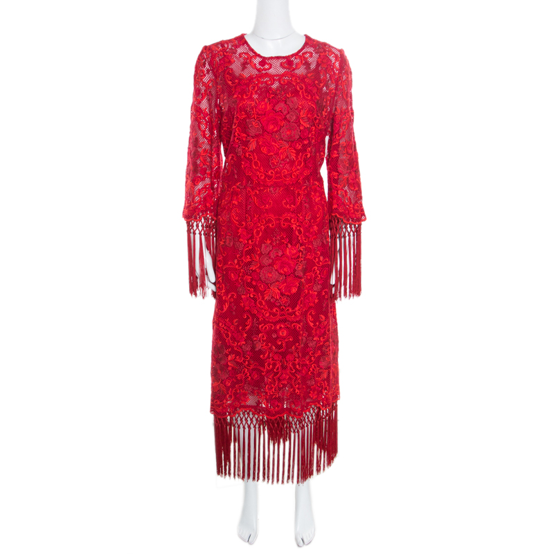 1ffe53e8 ... Dolce and Gabbana Red Carnation Patterned Cotton Guipure Lace Fringed  Maxi Dress XL. nextprev. prevnext
