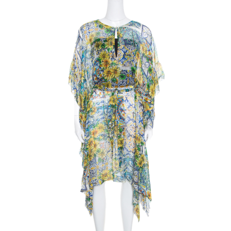 798e46d25b Buy Dolce and Gabbana Yellow Floral Printed Sheer Silk Belted Kaftan ...