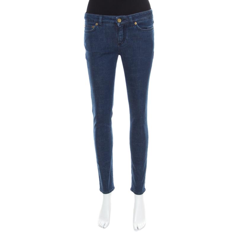 Купить со скидкой Dolce and Gabbana Indigo Dark Wash Denim Skinny Pretty Jeans S