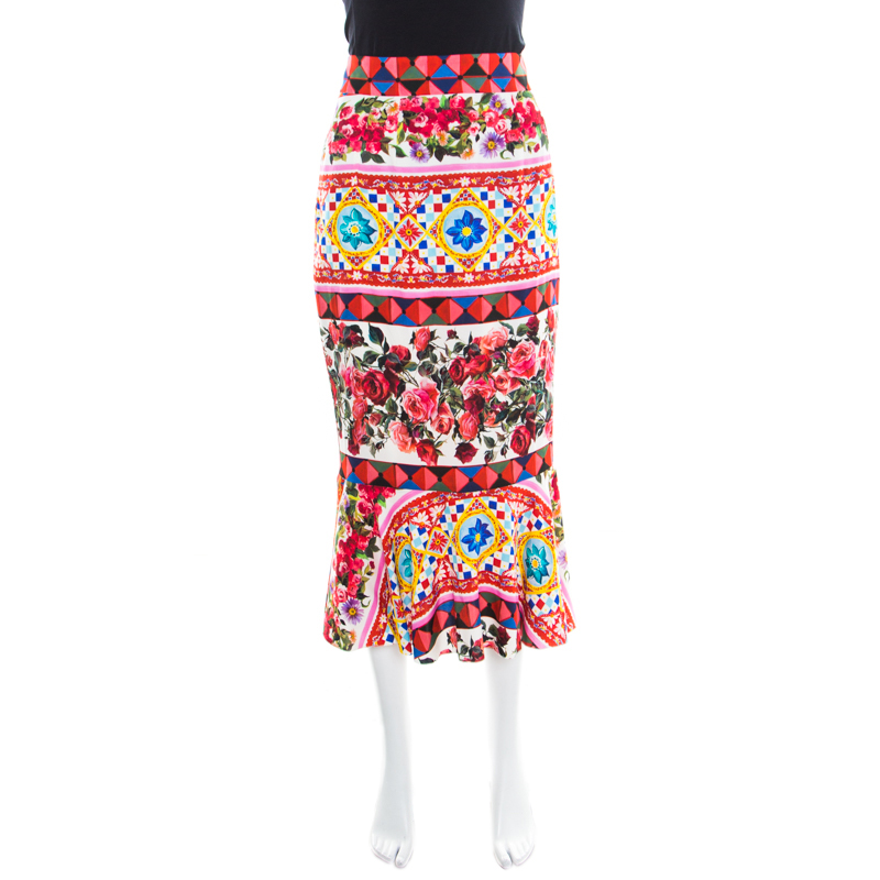 a62fb0b3718 Buy Dolce and Gabbana Multicolor Printed Silk Mambo Flounce Skirt M ...