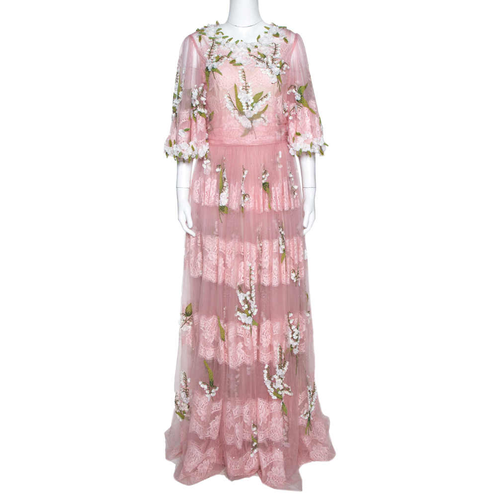 Dolce & Gabbana Pink Tulle Floral Applique Detail Maxi Dress IT 44