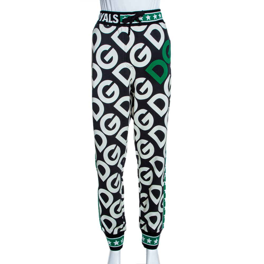 Dolce & Gabbana Multicolor DG Mania Print Cotton Jersey Track Pants IT 42