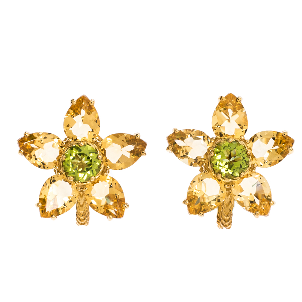Dolce & Gabbana Primavera Multi Gemstone 18k Yellow Gold Earrings