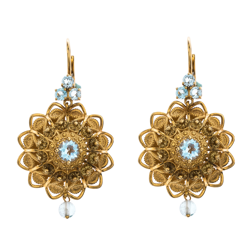 Dolce & Gabbana Pizzo Aquamarine 18k Yellow Gold Filigree Earrings