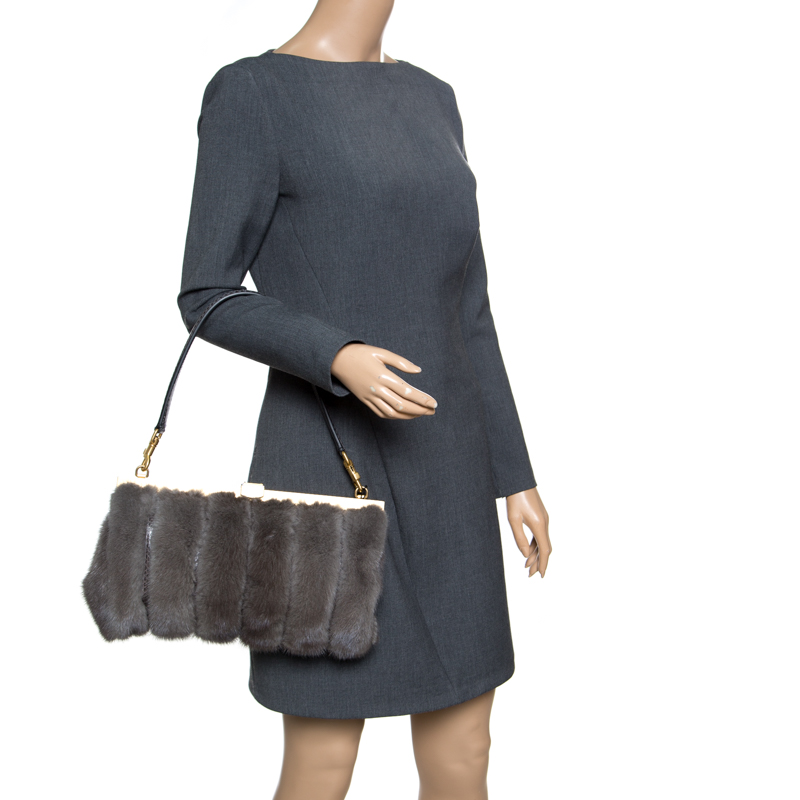 Купить со скидкой Dolce & Gabbana Dark Grey Mink Fur and Snakeskin Miss Sophia Clutch