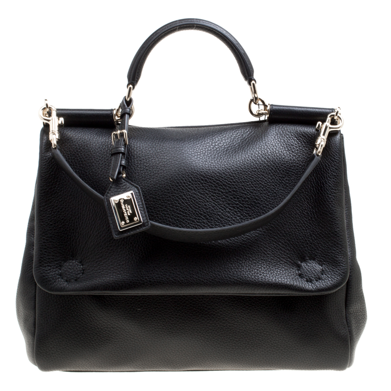 6d2625d490ffa ... Dolce and Gabbana Black Soft Leather Large Sicily Top Handle Bag.  nextprev. prevnext